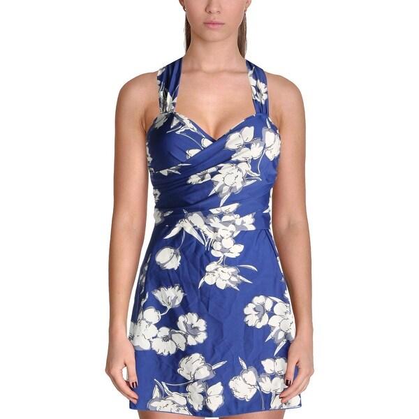 1dbb9e14f1 Shop COCOPEAR Womens Floral Print Shirred Swimdress - XL - Free ...