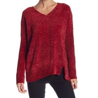 Romeo + Juliet Red Womens Size Medium M Knitted V-Neck Sweater