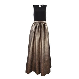 Calvin Klein Women's Jersey Metallic Sleeveless Gown (4, Bronze)