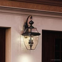"Luxury Colonial Outdoor Wall Light, 20""H x 10.5""W, with Tudor Style, Versatile Design, Black Silk Finish"