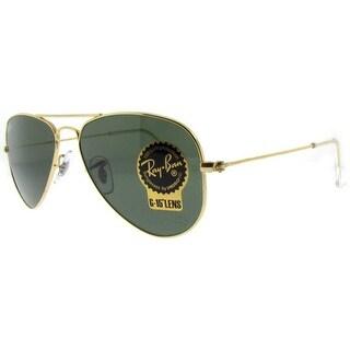 Ray Ban RB3044 L0207 52mm Gold Arista/Green G15 Small Aviator Sunglasses - arista gold - 52mm-14mm-135mm
