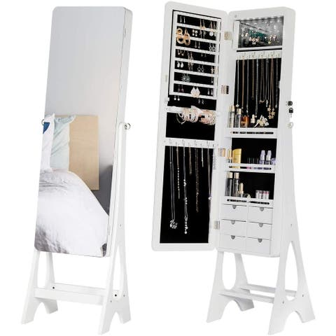 Large Capacity Dressing Mirror Makeup Jewelry Armoire Angle Adjuestable