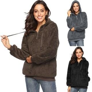 Women's Hooded Fleece Sweatshirt Warm Fuzzy Zip Up Hoodie Pullover
