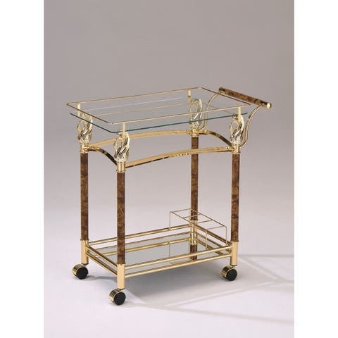 Alluring Serving Cart, Golden Plated & Clear Glass