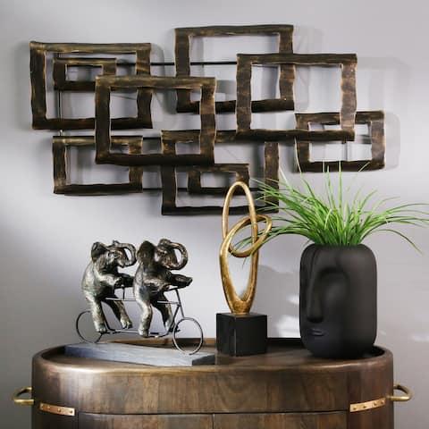 "Metal 19"" Contemporary Wall Decor, Bronze, Wb"