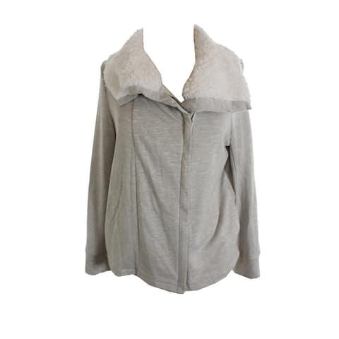 Inc International Concepts Grey Zip Sequin Heart Moto Jacket L