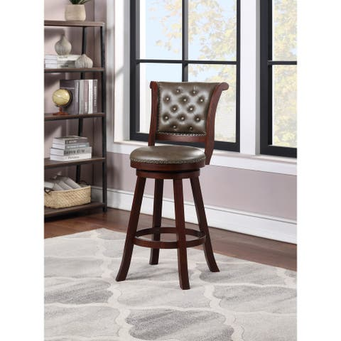 Nailhead Trimmed Button Tufted Faux Leather Swivel Barstool