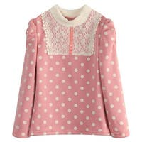 Richie House Girls' cute Top with lace and velvet tape
