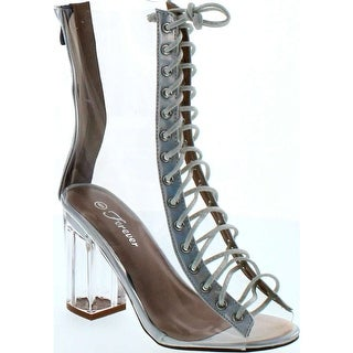 Forever Clear-45 Clear Translucent Transparent Lace Up Peep Toe Ankle Bootie W Perspex Block Heel