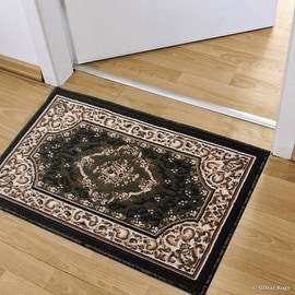 """Allstar Green Doormat Accent Rug Woven High Quality High Density Double Shot Drop-Stitch Carving (2' 0"""" x 3' 3"""")"""