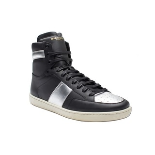 Saint Laurent Men's Leather High Top Sneaker Shoes Silver Black
