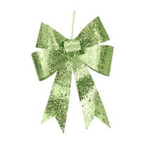 "12"" Lime Green Sequin and Glitter Bow Christmas Ornament"