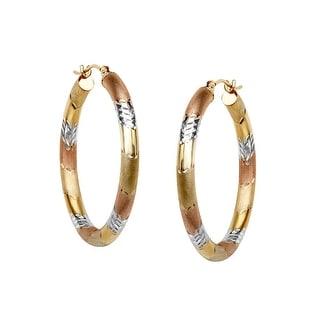 Three Stripe Hoop Earrings in 10K Two Tone Gold-Bonded Sterling Silver - three-tone