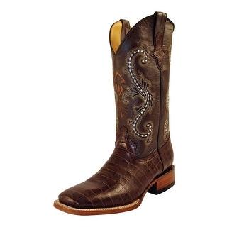 Ferrini Western Boots Mens Caiman Gator Cowboy Chocolate 40793-09
