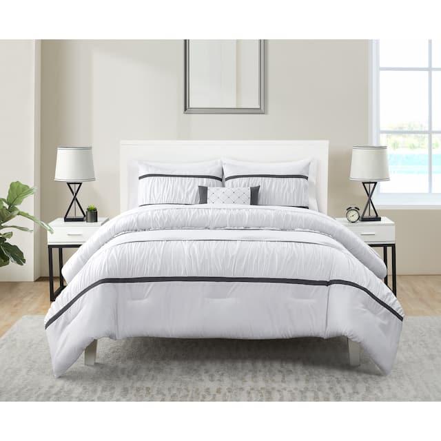 Trisha Grey Ruched Bed-in-a-Bag Comforter Set - King - White