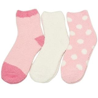 Alexa Rose Big Girls White Pink Solid Polka Dot 3 Pair Pack Socks 9-11
