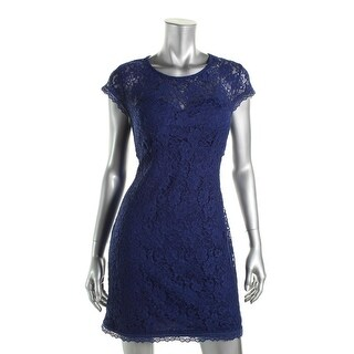 As U Wish Womens Juniors Cocktail Dress Lace Open Back