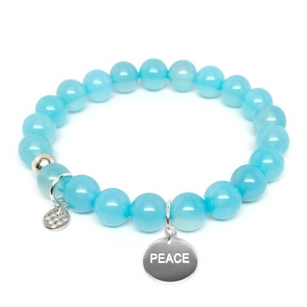 """Turquoise Quartz Peace Silver Charm Lucy 7"""" Bracelet"""