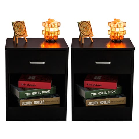 Bedroom Furniture Side Table 2pcs Night Stands with Drawer Black