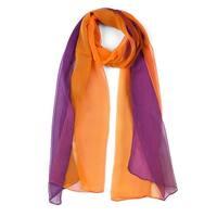 Long Chiffon Lightweight Gradient Color Scarf For Women Orange/Purple