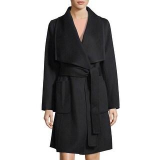Diane Von Furstenberg Shelli Black Wrap Coat