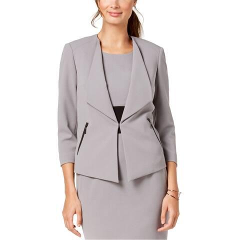 Kasper Womens Wide Lapel Blazer Jacket, Grey, 4