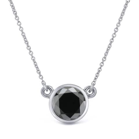 Auriya 14k Gold 3/4ctw Bezel-set Solitaire Black Diamond Necklace