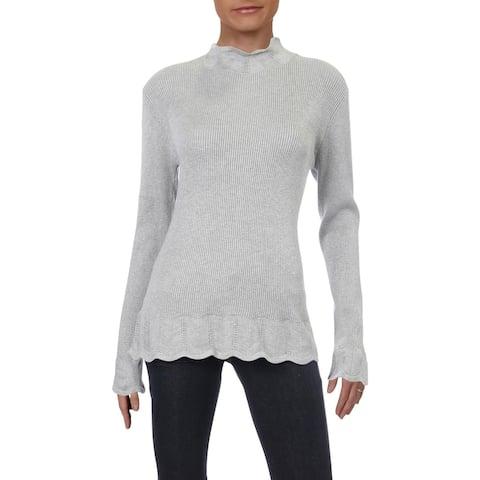 Philosophy Womens Mock Turtleneck Sweater Ribbed Scalloped