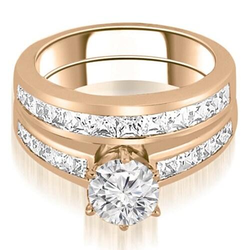 14K Rose Gold 2.05 cttw. Channel Set Princess Cut Diamond Bridal Set HI,SI1-2