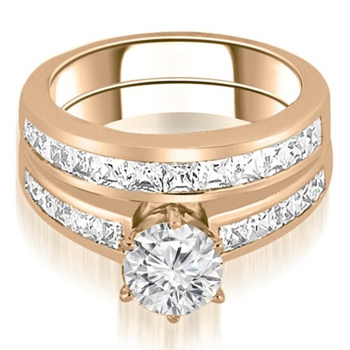 14K Rose Gold 2.55 cttw. Channel Set Princess Cut Diamond Bridal Set HI,SI1-2