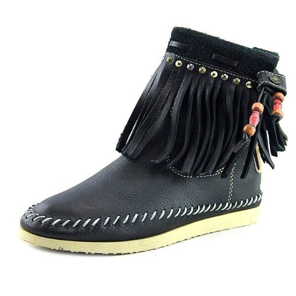 Buyamba Adjumanji Women Round Toe Leather Black Ankle Boot