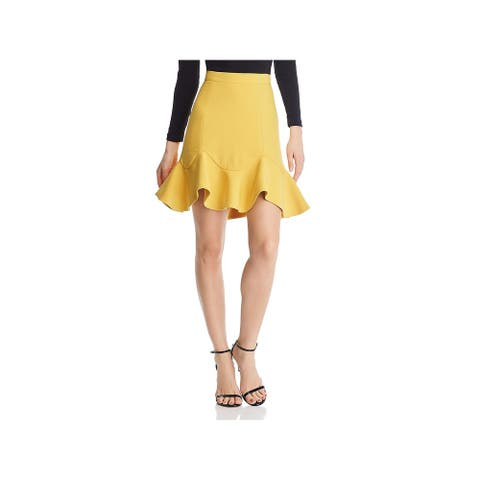 Bardot Womens Laurie Skirt Ruffled Mini - Mustard