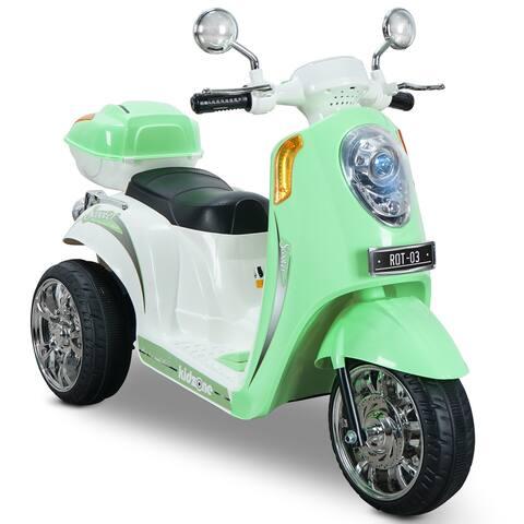 Kidzone Ride On Scooter 6V Electric 3 Wheel W/ Music, Light Green - standard