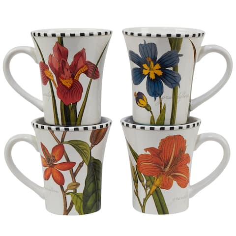 Certified International Botanical Flora 14 oz. Mugs, Set of 4