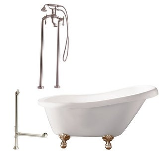 """Giagni LH2 Hawthorne 60"""" Free Standing Soaking Tub Package - Includes Tub, Tub Feet, Floor Mounted Tub Filler Faucet, and Drain"""