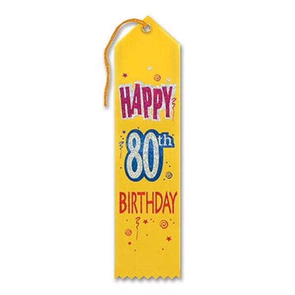 "Pack of 6 Yellow ""Happy 80th Birthday Award"" School Award Ribbon Bookmarks 8"" - N/A"