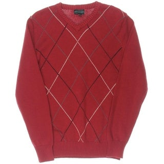 Geoffrey Beene Mens Harlequin Argyle V-Neck Sweater
