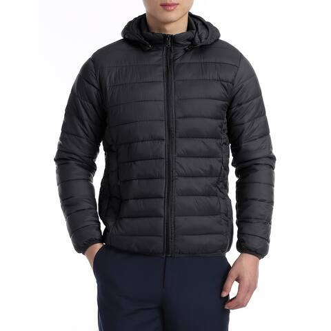 Men's Packable Down Jacket Light Weight Hooded Puffer Coat