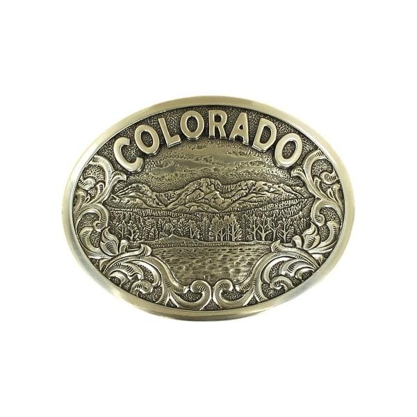 """Nocona Western Buckle Colorado Oval Scrolling Trees Silver - 2 3/4"""" x 3 1/2"""""""