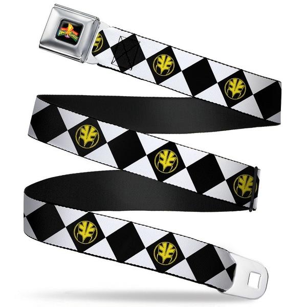Power Rangers Logo Full Color Diamond White Ranger Tigerzord Webbing Seatbelt Belt