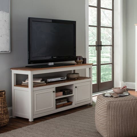 TV Cabinet, Ivory with Natural Wood Top