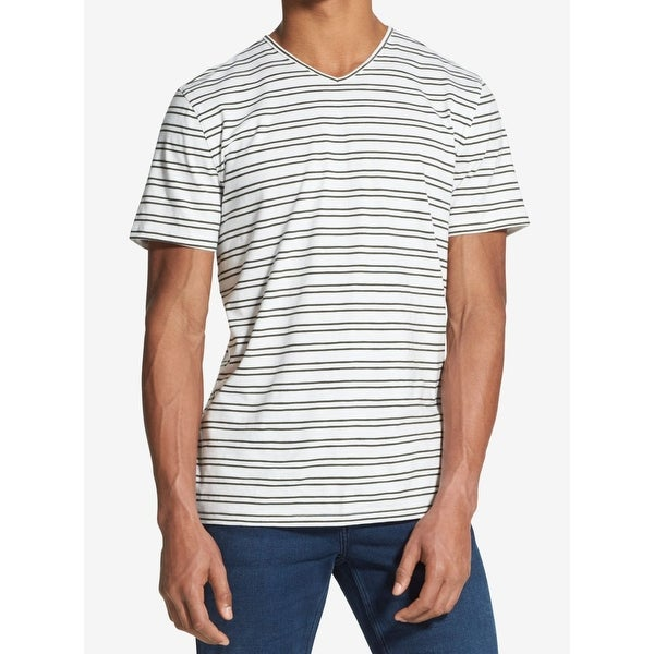 Shop Dkny Mens V Neck Striped Short Sleeve T Shirt Free Shipping