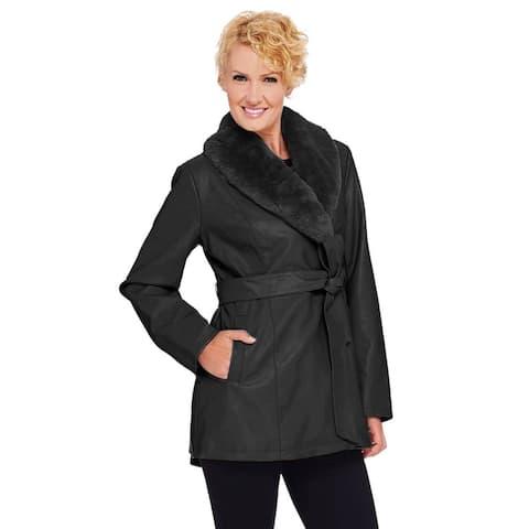 Dennis Basso Womens Faux Leather Coat with Faux Fur Collar XXS Black A268816