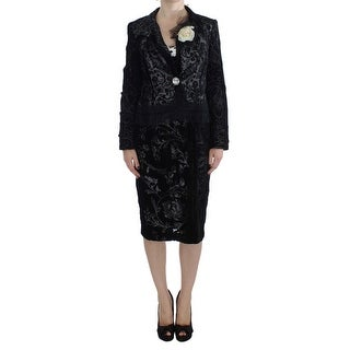 BENCIVENGA Black Floral Sheath Dress & Blazer Set - M