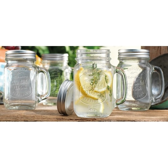 Palais Mason Jar Tumbler Mug with Stainless Steel Lid - 16 Ounces - Set of 4