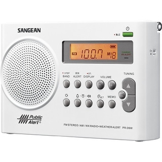 Sangean Pr-D9w Am/Fm/Weather Alert Rechargeable Portable Radio, Fm Stereo/Am/Noaa Weather Band, 7 Preset Weather Channel
