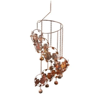 Owls and Bells Spiral Wind Chime - Flamed Copper Finish