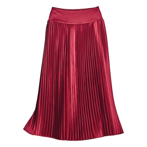 """Phool Fashion Women's Pleated Red Satin Skirt, Holiday Party Skirt, 35"""" Long - Crimson"""