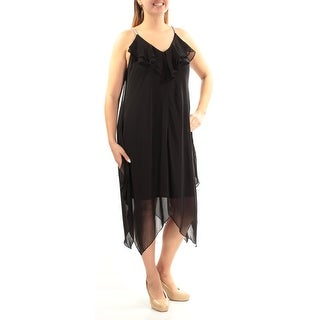 Womens Black Spaghetti Strap Below The Knee Cocktail Dress Size: 12