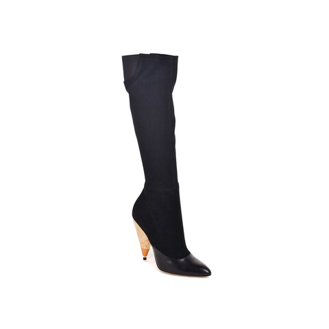 Givenchy Black Suede Leather Painted Heel Knee High Boots